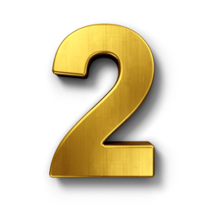 The number 2 in gold