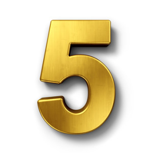 The number 5 in gold